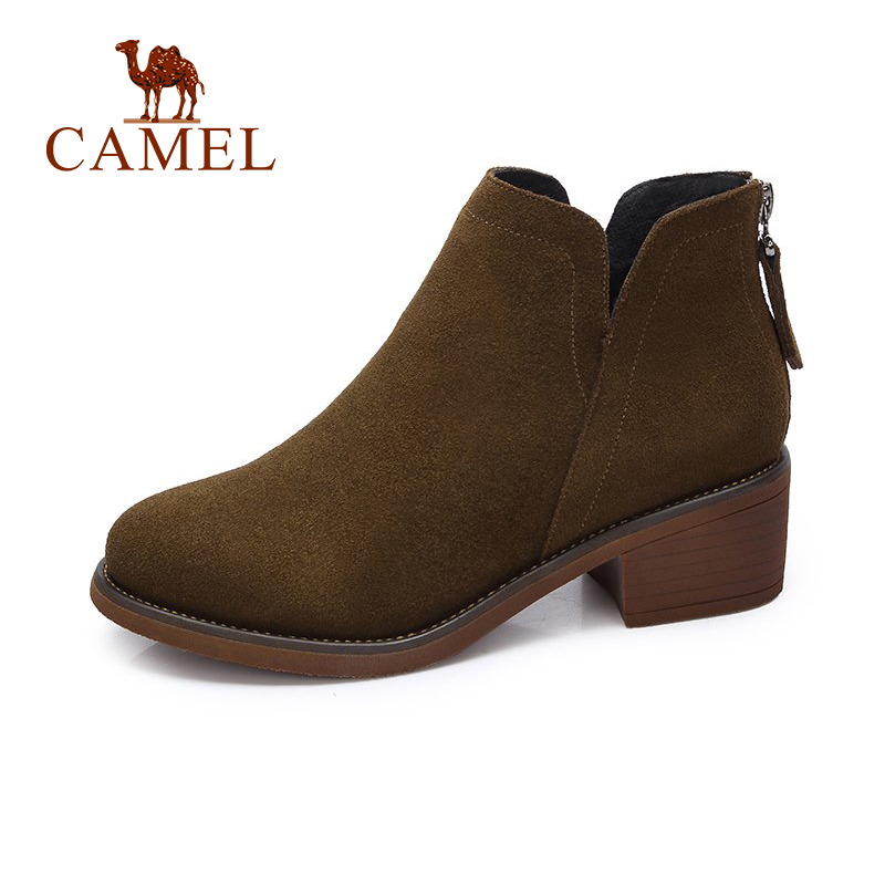 CAMEL Short Boots Women Winter Short Boots New British Style Simple Ankle Boots Simple Female Boots