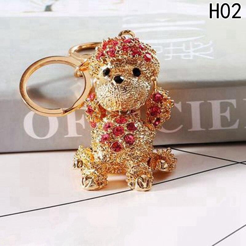 Dog Butterfly Cute Keychain Crystal Charm Purse Handbag Car Key Keyring Keychain Party Wedding Birthday Gift