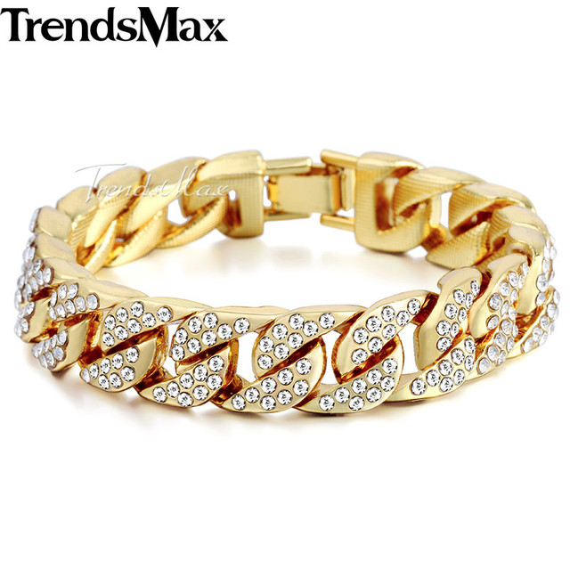 14mm Men's Hip Hop Miami Curb Cuban Bracelet Gold Silver Iced Out Paved Rhinesto