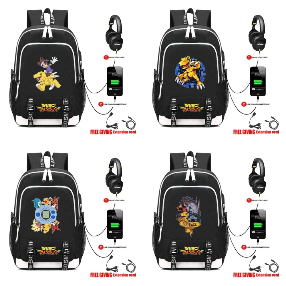 anime Digital Monster school bag backpack student school bag Notebook backpack USB charging Teenage men women Rucksack 5 style anime Digital Monster school bag backpack student school bag Notebook backpack USB charging Teenage men women Rucksack 5 style
