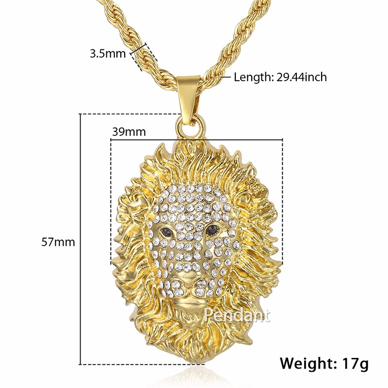 f443d87f94f Davieslee Mens Miami Chain Lion Head Pendant Necklace Gold Color Hiphop  Jewelry Black Eyes Iced Out Paved Rhinestones LGP110 1-in Chain Necklaces  from ...