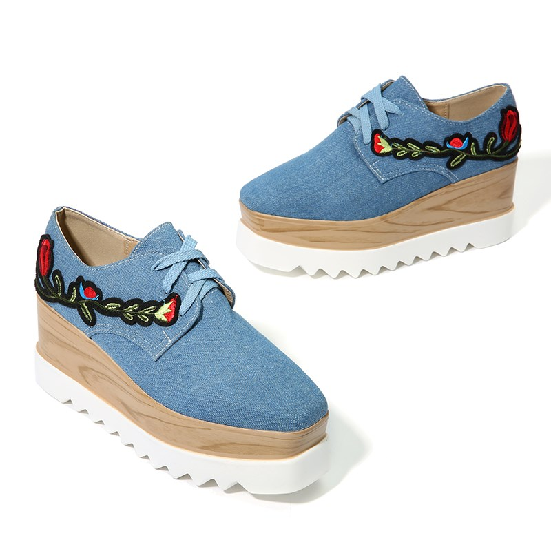 027f1833c8 YJP Women Canvas Platform Shoes, Blue/Beige Wedges Flowers Embroidery  Flats, Ladies Square Toe Floral Thick Bottom Flat Sneakers-in Underwear  from ...