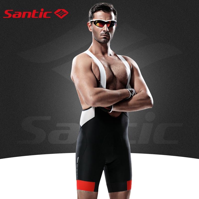 Santic Mens Cycling Shorts 4D Padded Spandex MTB Shorts Breathable Mesh Mountain Road Bicycle Bike Bib