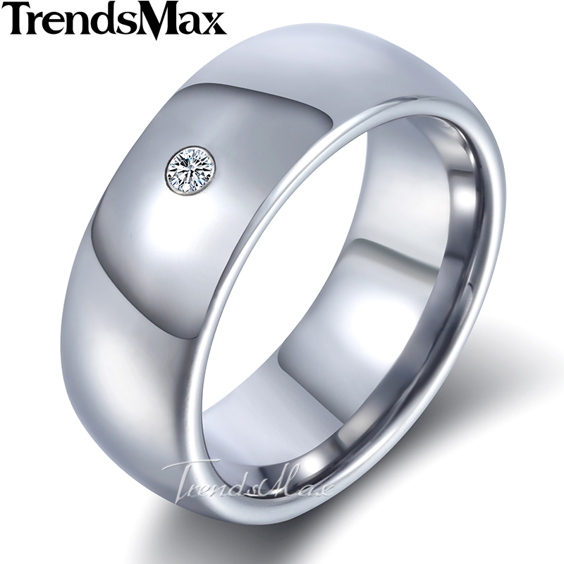 6 / 8 mm Classic Cubic Zirconia Wedding Ring for Men Women Silver Color Stainless Steel Tungsten Couples Ring US size 8-13 KTR25 equte rssc4c99s5 fashionable elegant titanium steel women s ring black us size 5