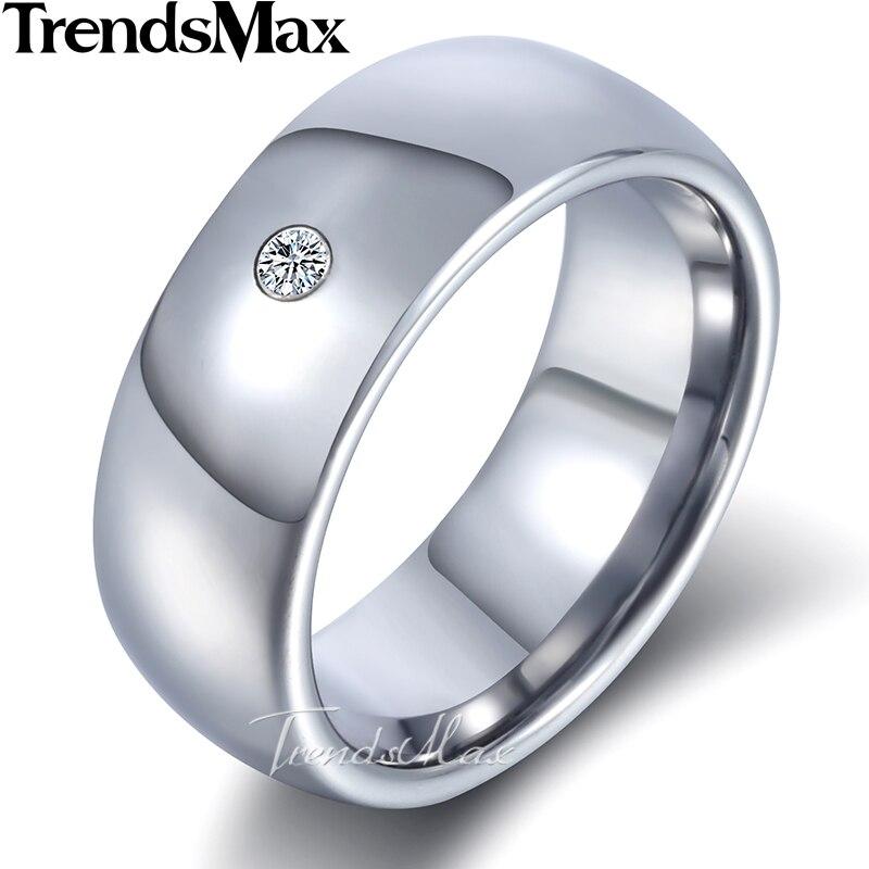 Trendsmax Inlaid CZ Band Ring Mens Boys Tungsten Carbide Wedding Engagement Silver 6mm 8mm KTR25