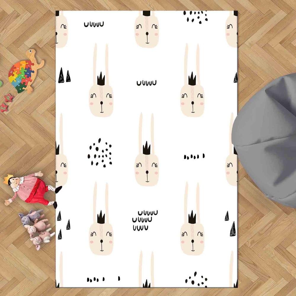 Else Funny Pink Rabbit White Floor Animals 3d Print Non Slip Microfiber Children Kids Room Decorative Area Rug Kids  Mat