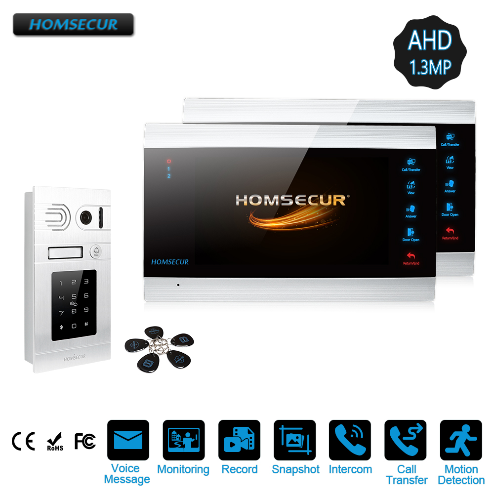 HOMSECUR 1C2M 7 Wired AHD1.3MP Video Door Entry Security Intercom with Password Access, Call Transfer (BC071HD-S+BM705HD-B)