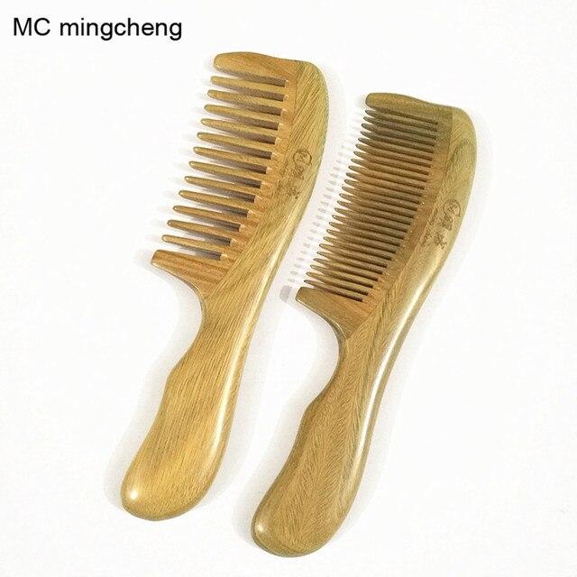 MC Brand Handmade Comb No Static Green Sandalwood Pocket Hair Beard Mustache Comb Beauty Hair Combs Care Maquiagem Women Beauty