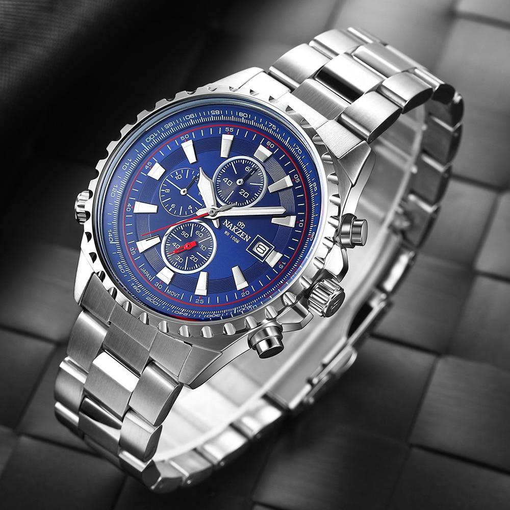 NAKZEN Business Blue Men Wirst Watch Sport Zegarki kwarcowe ze stali - Męskie zegarki - Zdjęcie 3