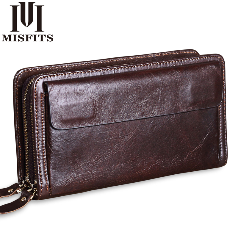MISFITS Cowhide Men Clutch Wallets Genuine Leather Long Purses Business Large Capacity Wallet Double Zipper Phone Bag For Male 2017 luxury brand men clutch cowhide wallet genuine leather hand bag classic multifunction mens high capacity clutch bags purses
