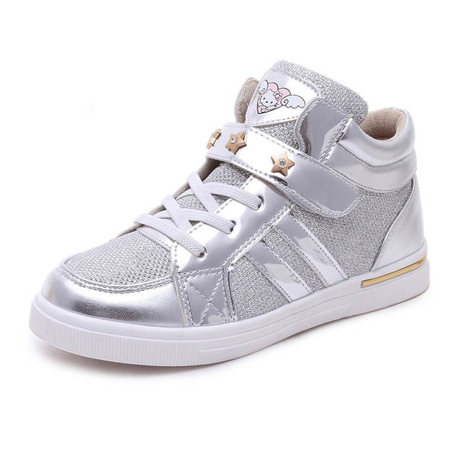 912fdbefab2 Children Sneakers Girls Shoes Casual Boots 2017 Kids Running Shoes for  Girls Cute Cat Girls Designer Shoes Gold Silver Pink