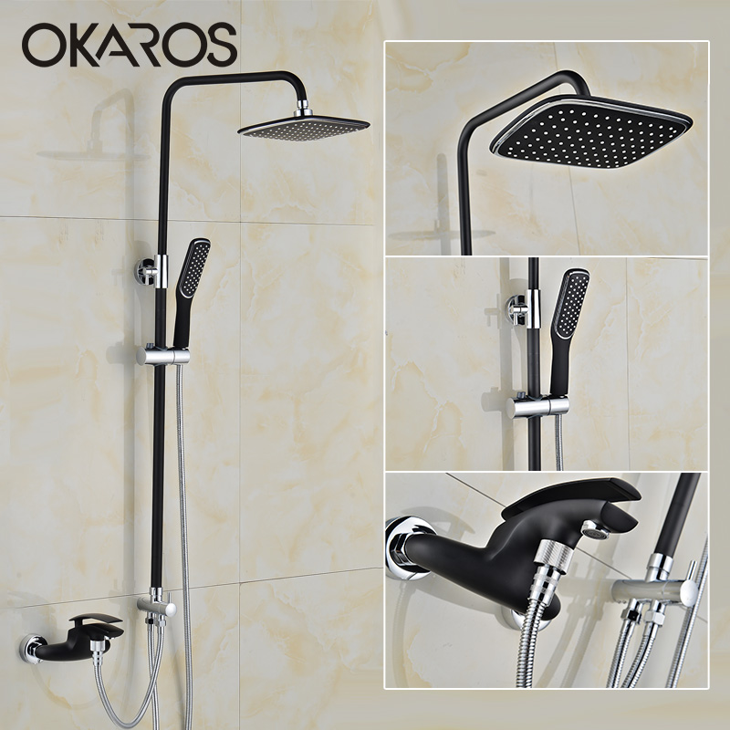 OKAROS Bathtub Shower Faucet  Rainfall Shower Head Hand Shower Sprayer Bathroom Shower Set Hot Cold Water Tap Mixer Torneira china sanitary ware chrome wall mount thermostatic water tap water saver thermostatic shower faucet