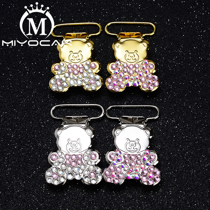 MIYOCAR  Unique Design Bling Bear Shape Pacifier Clip Dummy Clip Pacifier Holder Good Quality Handmade Material SP024