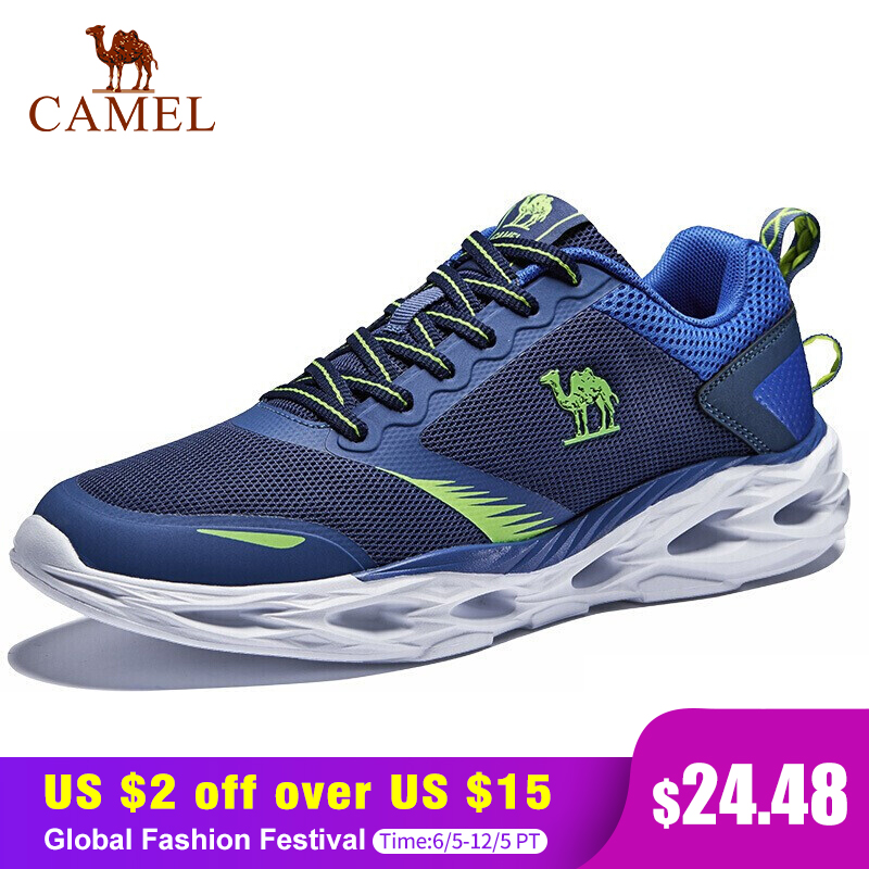 CAMEL Men Running Shoes Shock Absorption Cushion Breathable Lightweight Comfortable Footwear Outdoor Sports Sneakers
