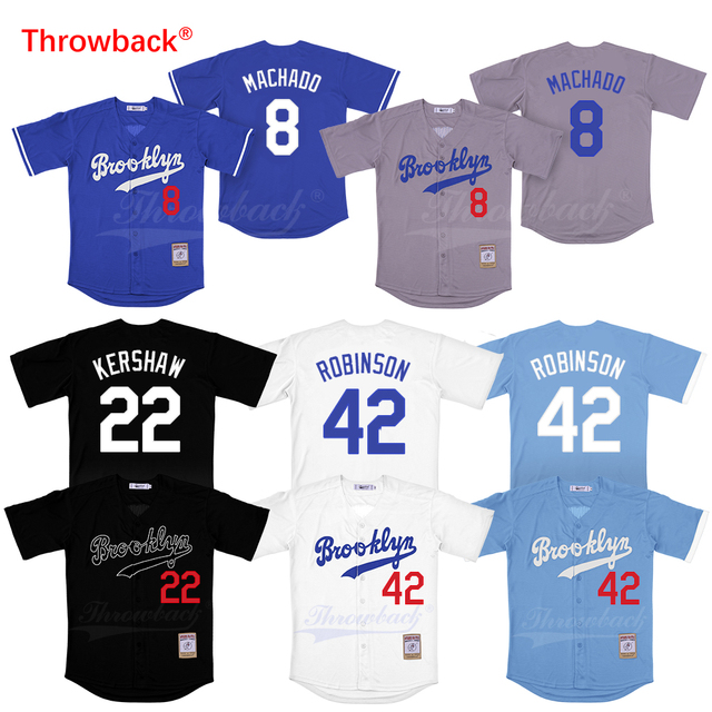 Throwback 8 Manny Machado 22 Clayton Kershaw 42 Jackie Robinson Baseball  Jersey Men s Brooklyn Jerseys White Gray Bule Black cb47ab03526