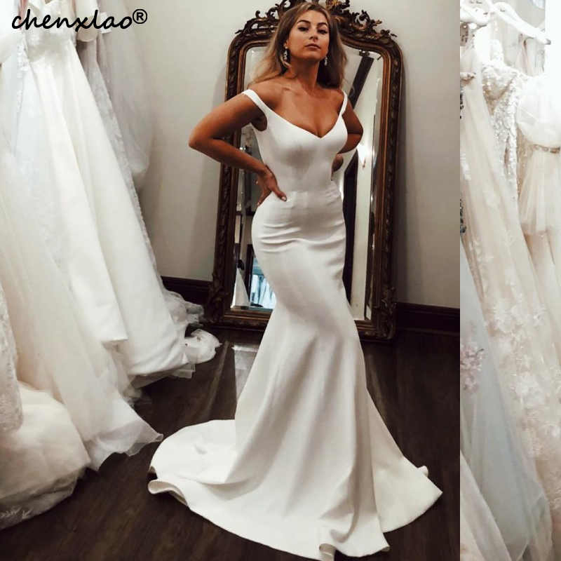 CHENXIAO Simple Mermaid Wedding Dresses 2019 Satin V-Neck Sleeveless Court Train Bridal Gowns Wedding Dress Vestido De Noiva