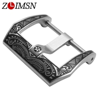 ZLIMSN Mens Watchbands Belt Metal Stainless Steel Buckle Strong Black Solid Watch Clasp Black Strap 22mm