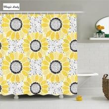 Shower Curtains Yellow Bathroom Accessories Illustration Chic Floral Summer  Sunflower White Black 180*200 Cm