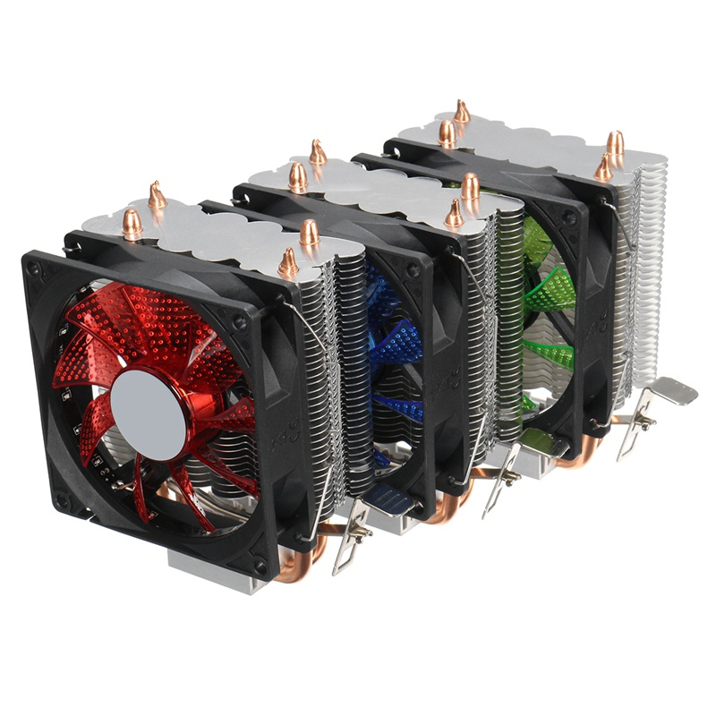 Dual LED CPU Fan Heatsink Radiator 9cm For Intel LGA775/1155/1156/1150 AMD High Quality Computer Cooler Cooling Fan For CPU three cpu cooler fan 4 copper pipe cooling fan red led aluminum heatsink for intel lga775 1156 1155 amd am2 am2 am3 ed