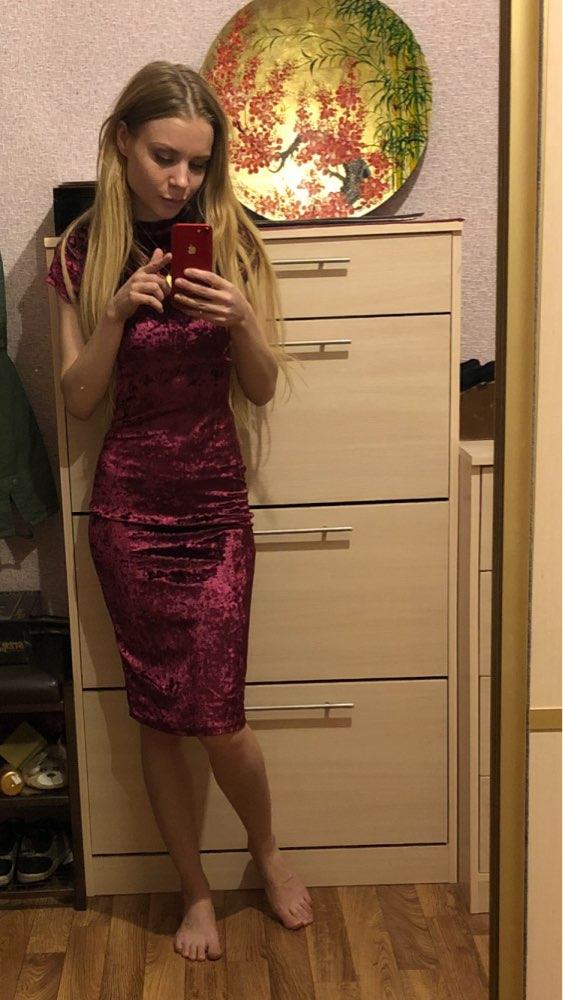 7004c2fa30 COLROVIE Burgundy Velvet Bodycon Midi Dress Autumn Women Elegant ...