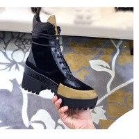 Роскошная обувь известного бренда, модные пикантные кожаные женские ботинки на толстом каблуке, обувь на высоком каблуке, Ботинки martin высок