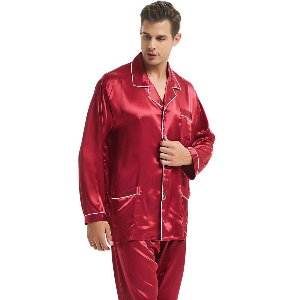 Mens Silk Satin Pajamas Set  Pajama Pyjamas  Set  PJS Sleepwear Loungewear  S,M,L,XL,XXL,XXXL,4XL Plus Size_Gifts