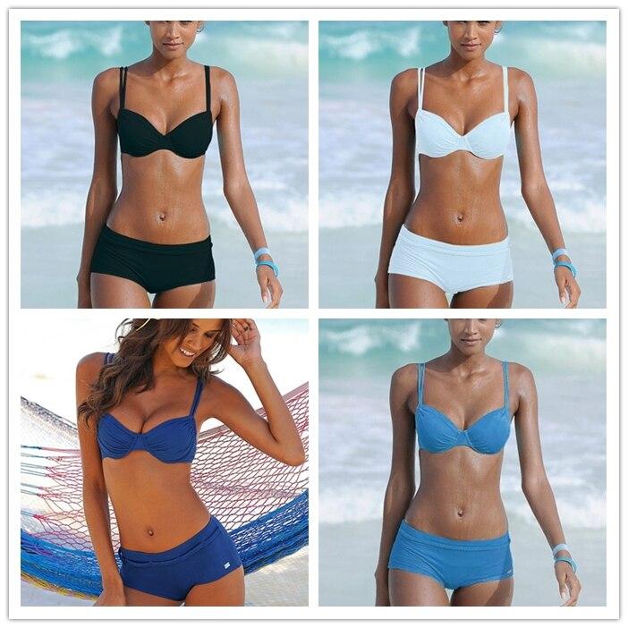 Phinikiss 3 Stück Frauen Tankini Set Gedruckt Boxer Weibliche Bademode Strappy Sport Bikini Badeanzug Sommer Stil Badeanzug Sport & Unterhaltung