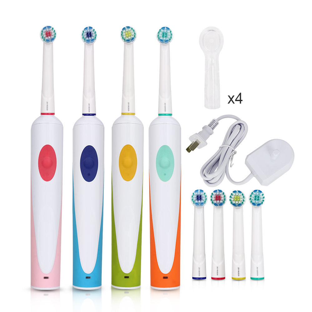 AZDENT Electric Rotating Toothbrush Rechargeable Tooth Brushes with 4pcs Replacement Heads EU Plug Oscillation Toothbrush Adults image