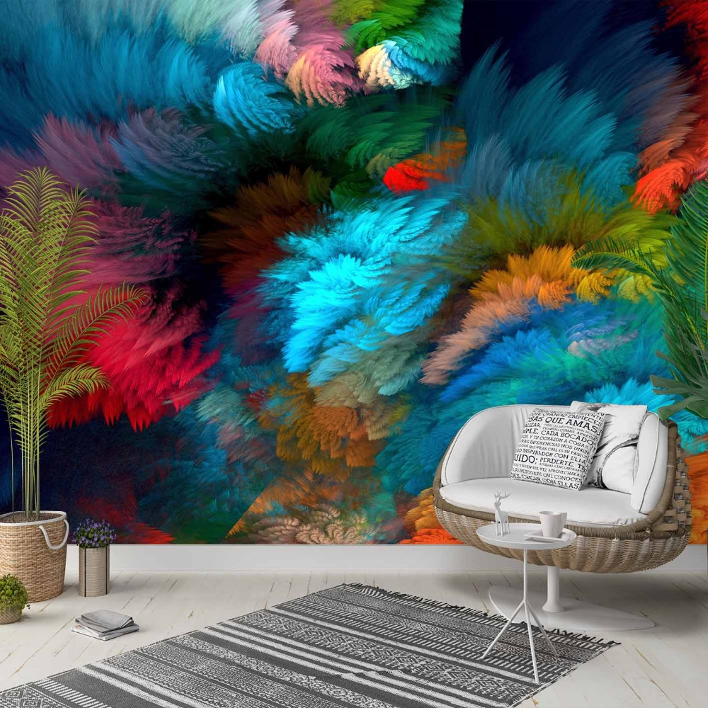 Else Abstract Blue Black Green Pink Feathers 3d Photo Cleanable Fabric Mural Home Decor Living Room Bedroom Background Wallpaper