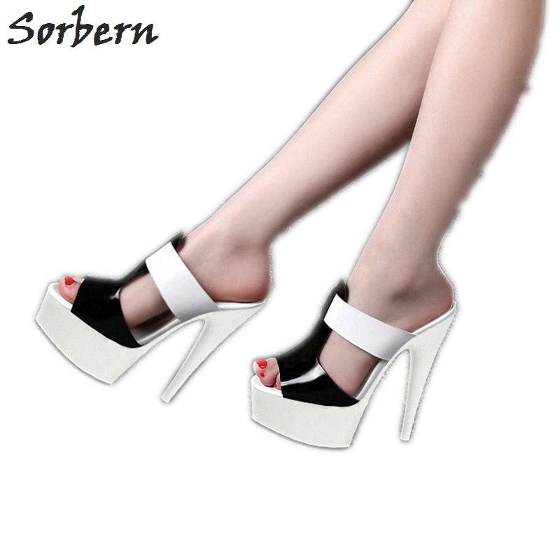 723d5b5075 Sorbern Black And White Slipper Womens Extreme High Heels Slides Ladies  Summer Shoes Womens Platform Heels