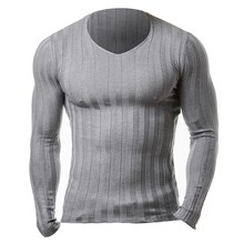 2017 New Men Autumn Casual Sweater Plus Size Slim Fit Knitted Basic Sweaters Long Sleeve V Neck Fashion Men's Pullover Warm Top