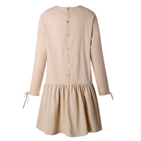 Fashion Lady Long Sleeve Pleated Dress Autumn Casual Back Buttons Design Dress