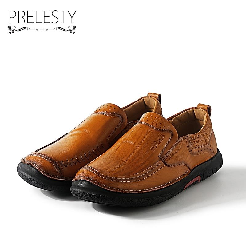 Prelesty New Design Genuine Leather Men Flats Black Brown Men Leather Shoes For Gentlemen Zapatos Hombres Mature Man Slip Ons
