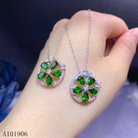 KJJEAXCMY Fine Jewelry 925 sterling silver inlaid natural diopside gemstone female necklace pendant round support re examination