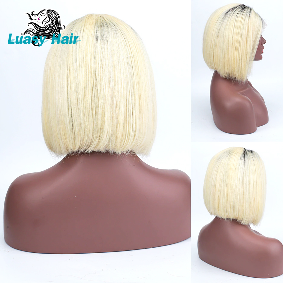 Luasy Short Blonde Lace Front Human Hair Wigs For Black Women Peruvian Remy Hair BOB Wigs With Baby Hair Full and Thick 1B 613