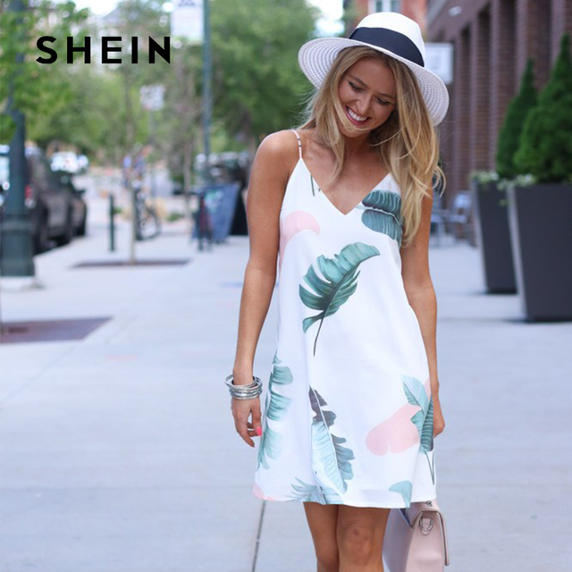 SHEIN Palm Leaf Print Cami Dress,White Women Sexy Sleeveless Casual Dresses for Summer Beach Holiday, Trend V Neck Clothing