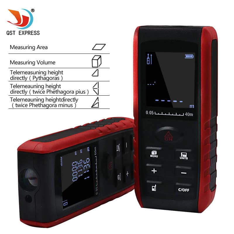 купить QSTEXPRESS Q03 Handheld Laser Distance Meter 40M 60M 80M 100M Mini Laser Rangefinder Laser Tape Range Finder Diastimeter Measure по цене 1346.42 рублей