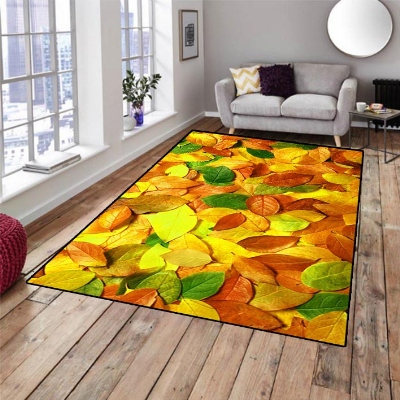 Else Yellow Green Autumn Brown Leaves Floral 3d Print Non Slip Microfiber Living Room Decorative Modern Washable Area Rug Mat
