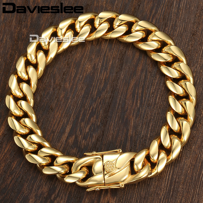 Davieslee Miami Curb Cuban Mens Bracelet Chain Hip Hop 316L Stainless Steel Silver Gold Color 8/12/14mm 9inch DHBM111 20mm heavy jewelry 316l stainless steel silver gold black cuban curb chain mens bracelet bangle 8 5 high quality male wristband