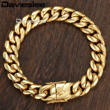 1b5aa78be251 Davieslee Miami curb cubano pulsera de cadena para hombre hip hop 316L Acero  inoxidable plata color oro 8 12 14 MM 9 pulgadas DH.
