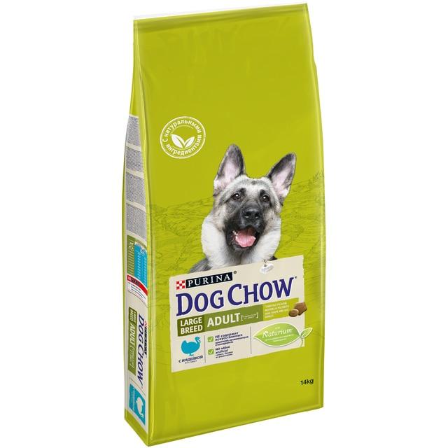Сухой корм Dog Chow для взрослых собак крупных пород старше 2 лет с индейкой, 14 кг