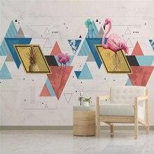 Custom 3d wallpaper mural personality geometric flamingo living room bedroom wall - high-grade waterproof material