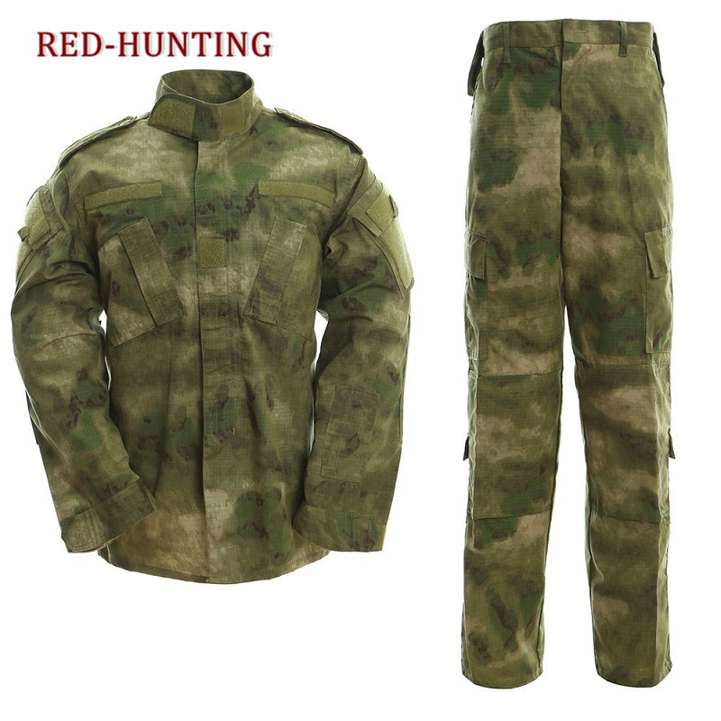 Askeri üniforma taktik Atacs a-tacs FG Camo PC yırtılmaz gömlek ve pantolon ordu savaş ceket seti Airsoft asker eğitim bezi
