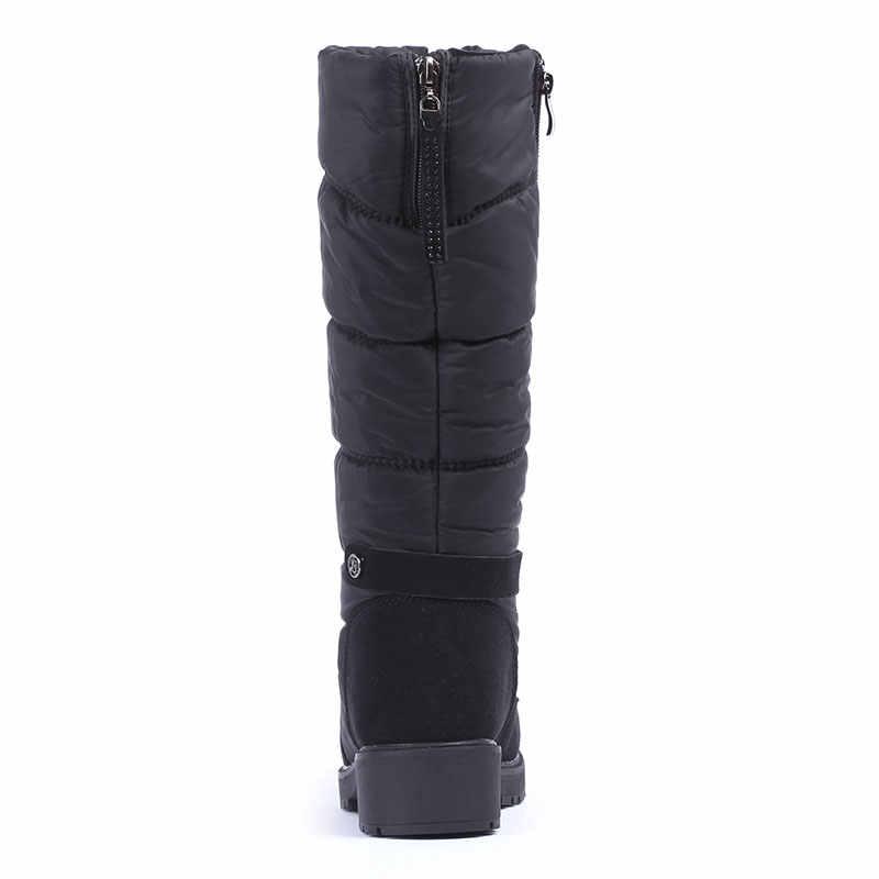 GOGC kışlık botlar kadın su geçirmez kar botları sıcak kış ayakkabı kadın çizmeler artı boyutu kolay aşınma tasarımcı kadın yüksek çizmeler 9894