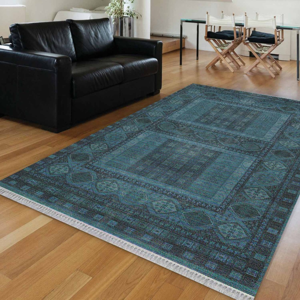 Else Dark Blue Ethnic Vintage Turkish Ottoman Design 3d Print Anti Slip Kilim Washable Decorative Kilim Area Rug Bohemian Carpet