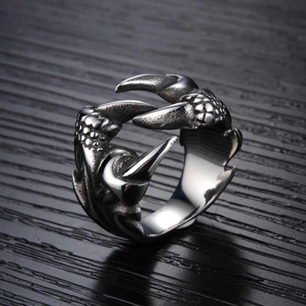 Новые мужские байкерские кольца в стиле панк-рок, металлические кольца с когтями дракона для мужчин, винтажные готические ювелирные изделия