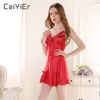 c785bd489 Caiyier Lace Nightgown Pink Red Black Shoulder Strap 2018 Summer Women  Nightwear Silk Slip Sleepwear Solid