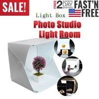 LED للطي صندوق الضوء التصوير الفوتوغرافي استوديو سوفت بوكس صندوق الضوء 23*24 خيمة نور مع خلفية بيضاء سوداء ملحقات صندوق الضوء-في طاولة التصوير من الأجهزة الإلكترونية الاستهلاكية على