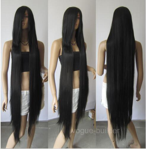 цена на 150cm 60'' Long Black Heat-resistant fiber Straight Cosplay Hair Wig+cap>>>girls Cosplay wig Free shipping