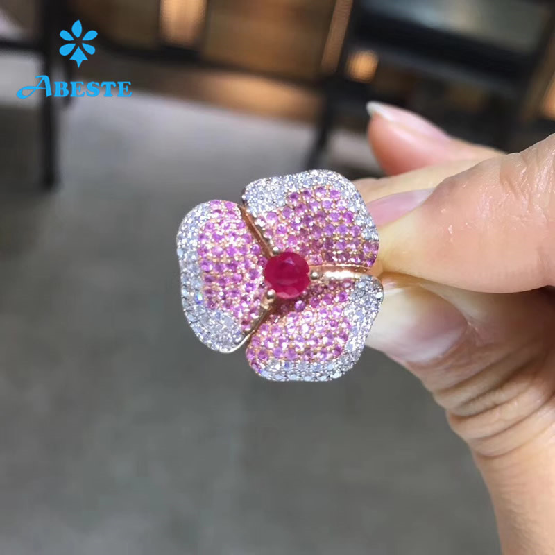 ANI 18K Rose Gold AU750 Women Wedding Ring Certified Natural Ruby Sapphire Flower Shape Real Diamond